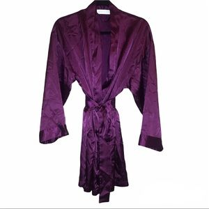 Victorias Secret   Purple Silk Robe Kimono With Belt - One Size